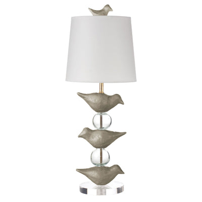 Gray Robin Staak table lamp with stacked papier mache birds and balls