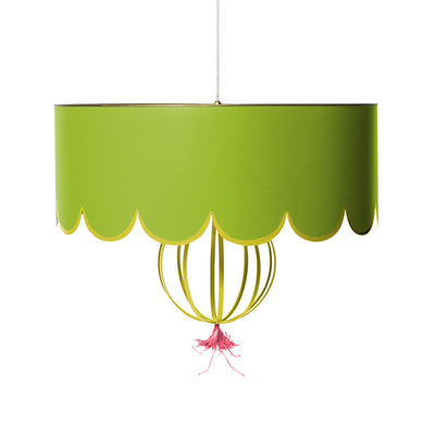 green and pink ceiling light with scallop design