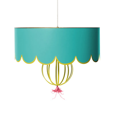 sally hang light with scallop design , handmade tin and tole