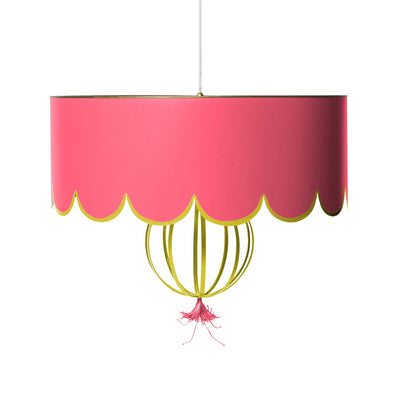 sally pendant light in pink with chartreuse and scalloped edge