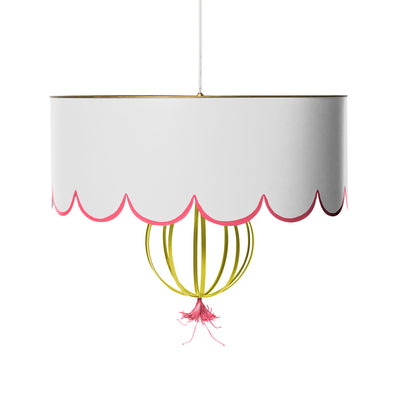 white and pink scallop shade pendant light, handmade from tole