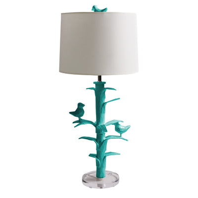 bright blue paper mache Sarah Lamp by Stray Dog Designs