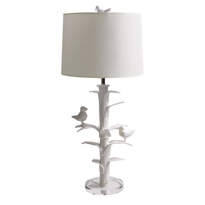white papier mache Sarah Lamp with 2 birds, Stray Dog Designs