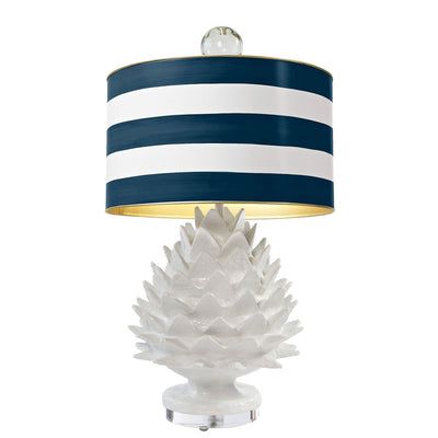 Samll artichoke lamp with striped drum shade by Stray Dog Designs