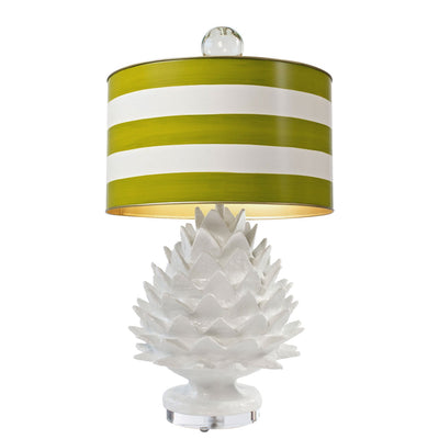 white artichoke lamp with green striped metal shade, Stray Dog