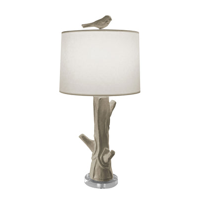 Gray papier mache Steph Wood lamp with bird finial. Faux bois.