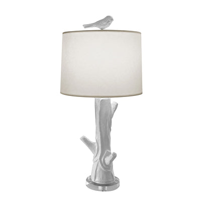 white Steph wood table lamp, papier mache faux bois design, bird finial.