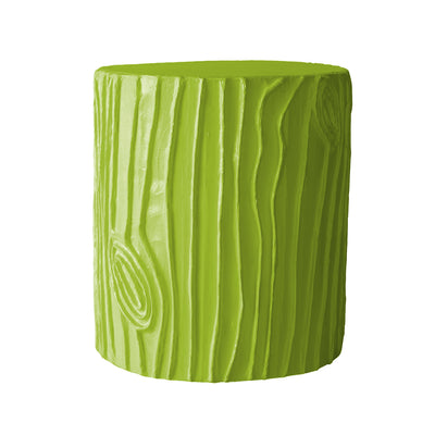 happy spring green papier mache stool in faux bois pattern