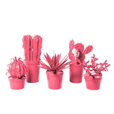 bright pink potted cacti made from papier mache