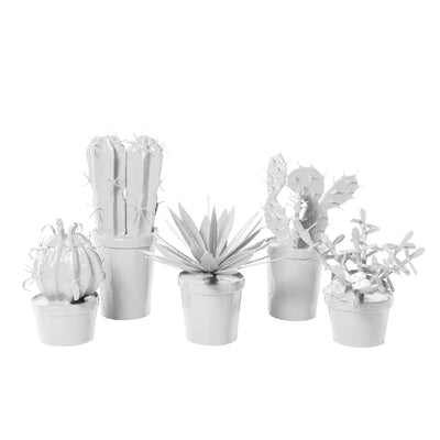 white potted papier mache cacti cactus set