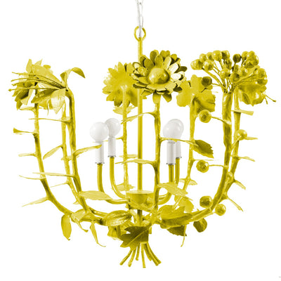 Colorful flower bouquet chandelier, the Terrell Swann, artisan made