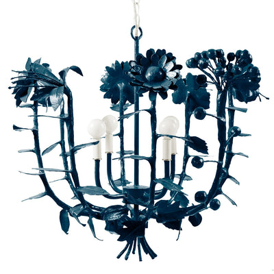 Paper mache flowers chandelier by Stray Dog Designs