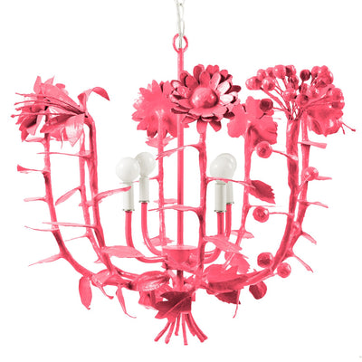 Pink and happy papier mache flower bouquet chandelier for Stray Dog