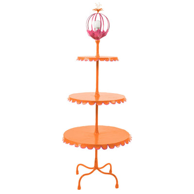3 tiered floor lamp in orange and pink with scallop edged tables
