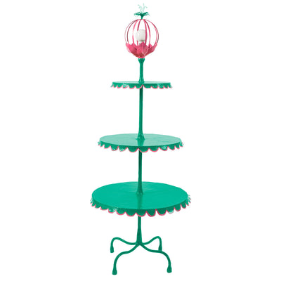aqua 3 tiered floor light with pink trim and festive flower