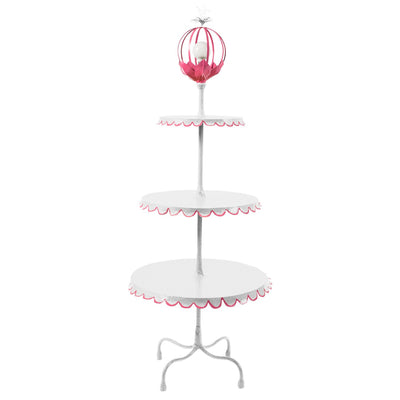 white and pink multi tiered floor light with flower ball light on top