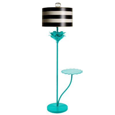Papier mache floor light with black and white stripe shade