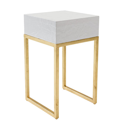 white side table with chunky top and gold iron legs