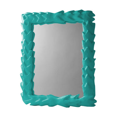 Aqua Papier Mache Tropical Mirror, artisan made in Mexico.