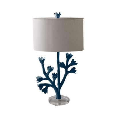 navy blue tulip tree lamp, papier mache, Stray Dog Designs