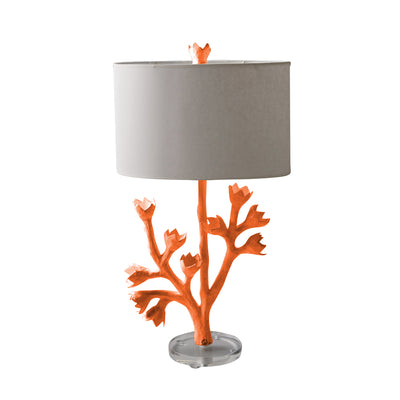 orange tulip tree lamp, handmade in papier mache with tulip finail