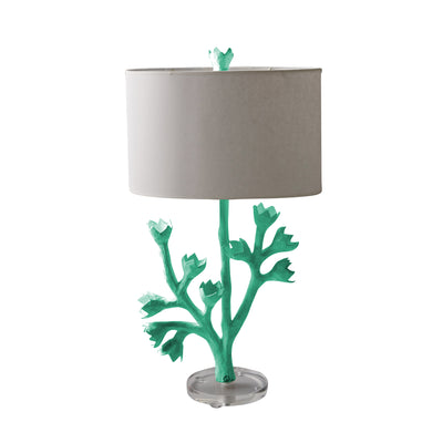 aqua tulip tree table lamp with papier mache tulips, flowers