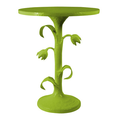 verdant green tulip table handmade with wood and papier mache