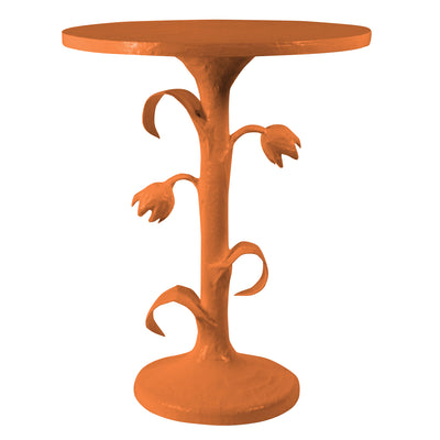 orange tulip side table embellished with sculpted blooms