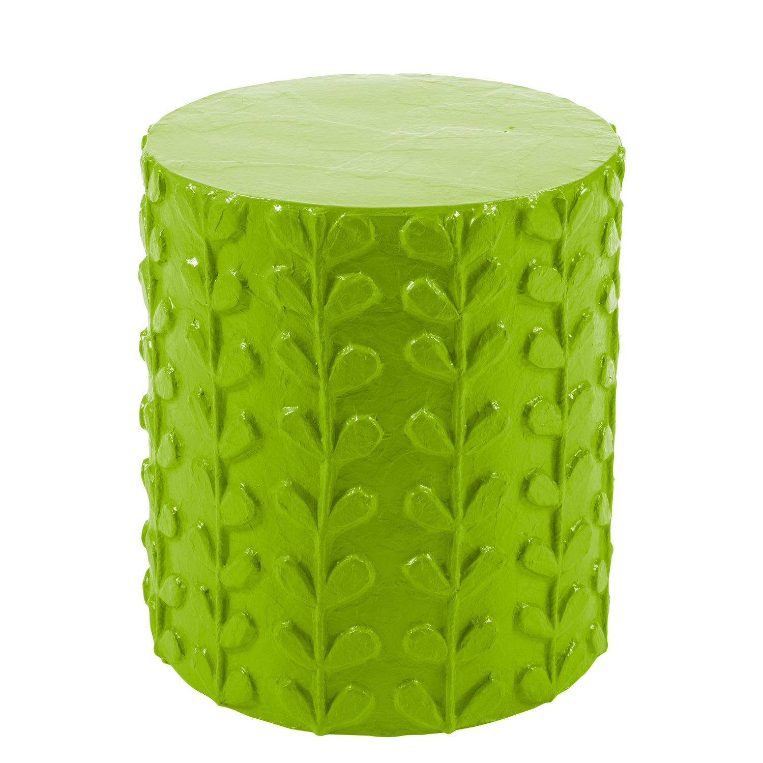 green happy stool or accent table