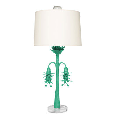 aqua Victoria Robbins table lamp with papier mache floral design