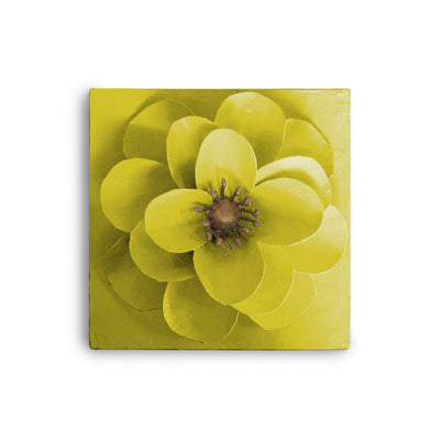 Camellia Flower Wall Art made from papier mache and painted chartreuse
