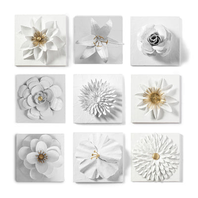 Flower Wall Art in White And Gold,  Handmade in Mexico
