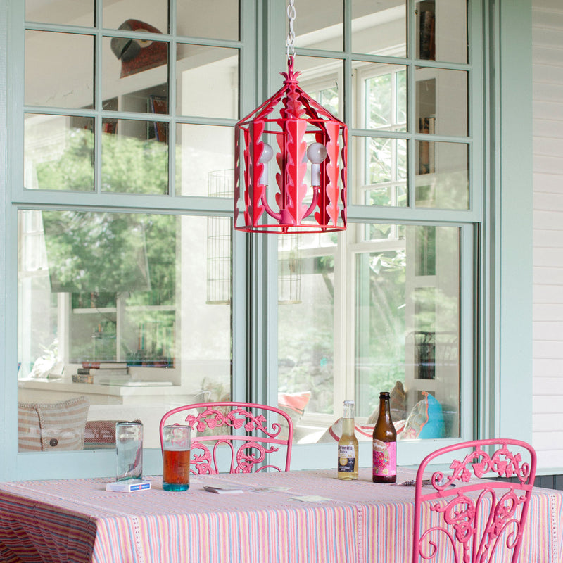 red and pink iron ceiling lantern, Yola, Stray Dog Designs
