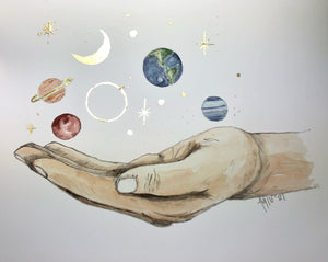 """The universe in my hand"" print"
