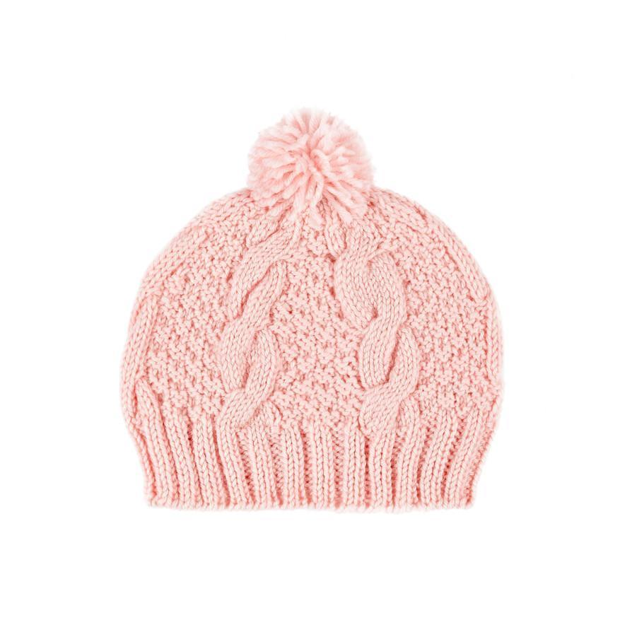 Acorn Winter Beanie - Cable Knit Pink