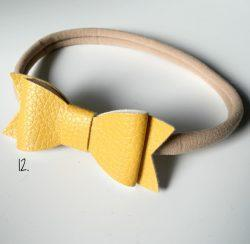 Headband Faux Leather Bow - Mustard