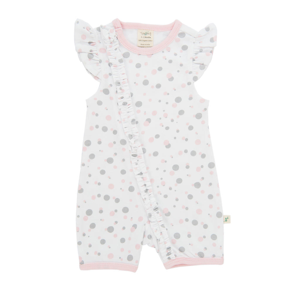 Tiny Twig Love Dots Cap Sleeve Frill Zip Suit