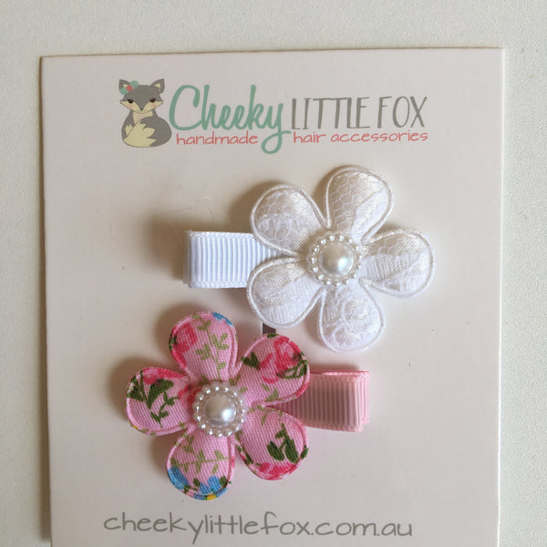 Hair Clips Twin Pack - White & Pink Flower