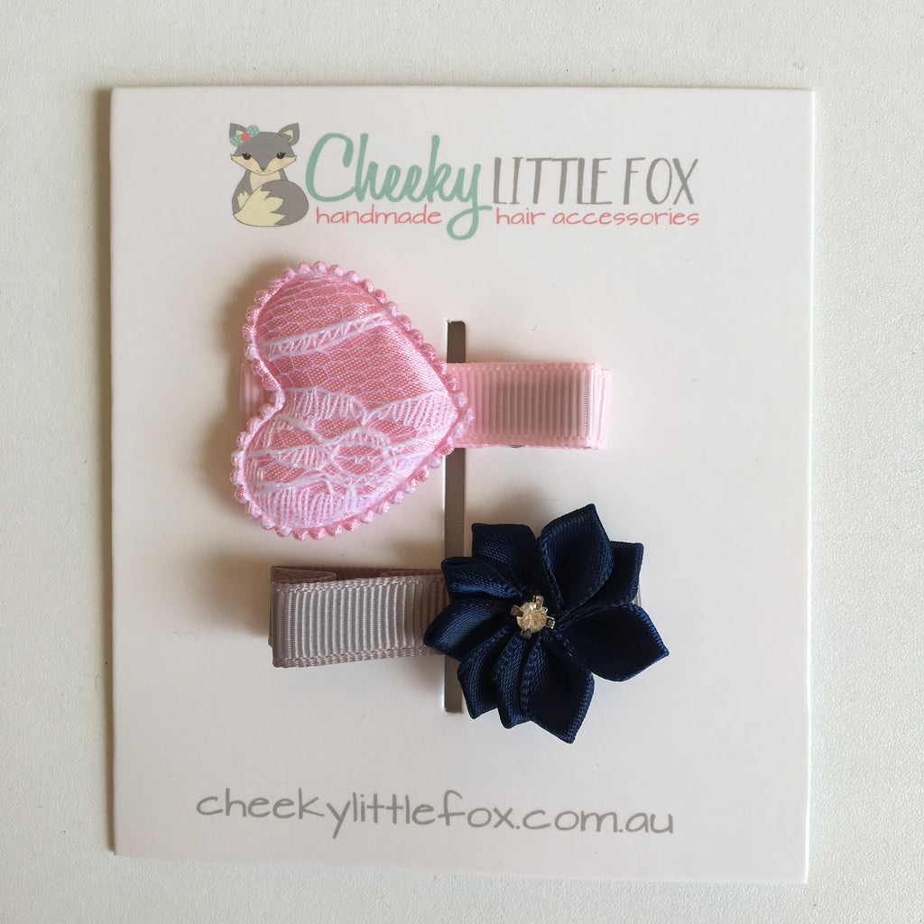 Hair Clips Twin Pack - Pink Heart & Navy Star