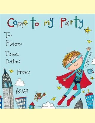 Rachel Ellen Party Invitations Set - Superhero