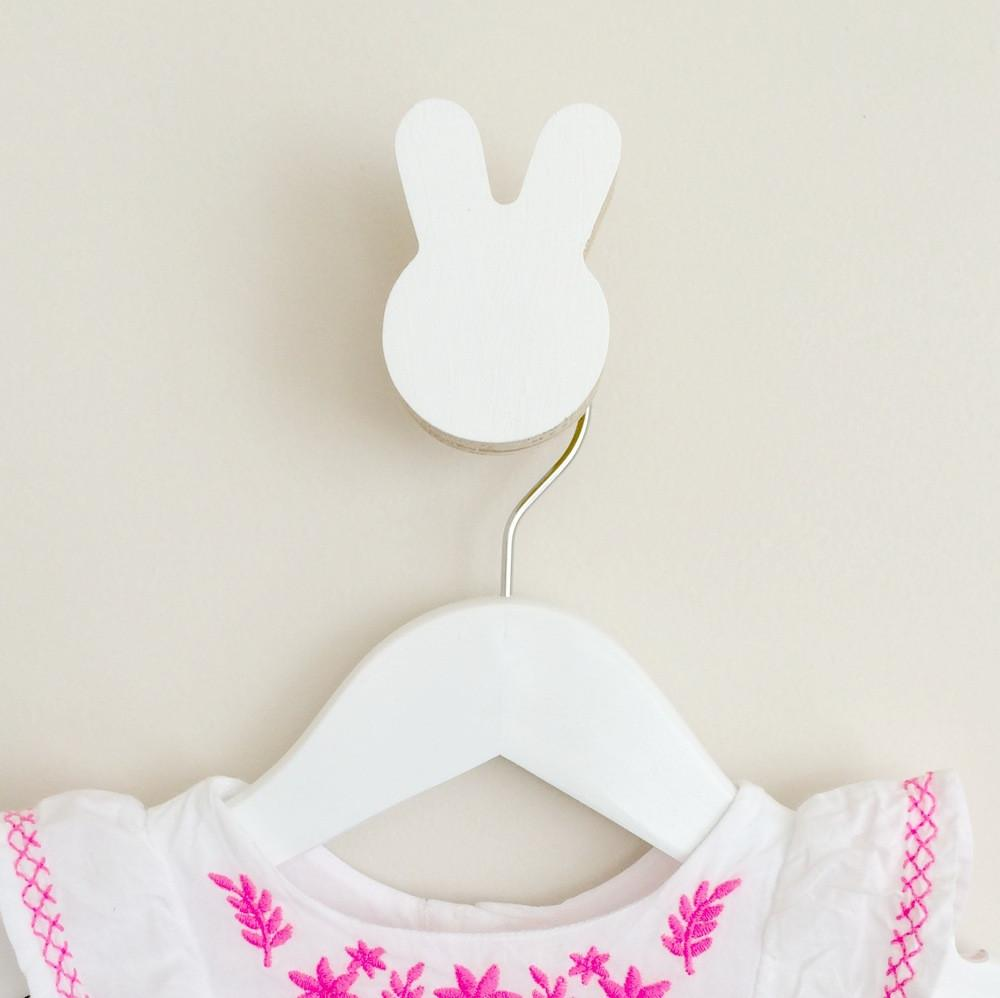 Knobbly Wall Hook Bunny White