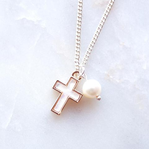 Lauren Hinkley Freshwater Pearl & Cross Necklace