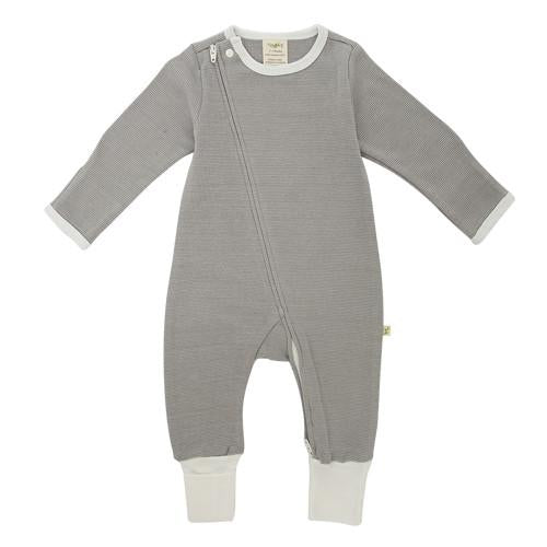 Tiny Twig Zip Growsuit - Granite Stripes