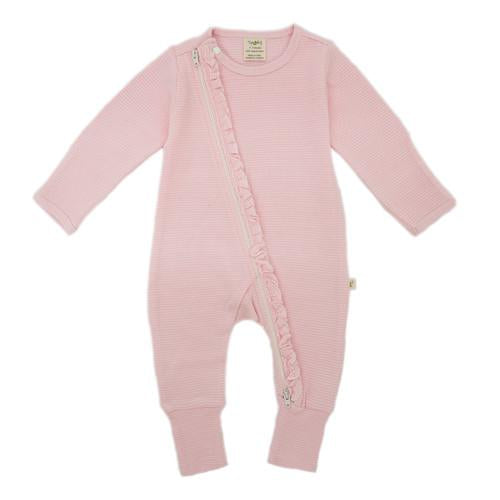 Tiny Twig Zip Growsuit - Pink Stripes