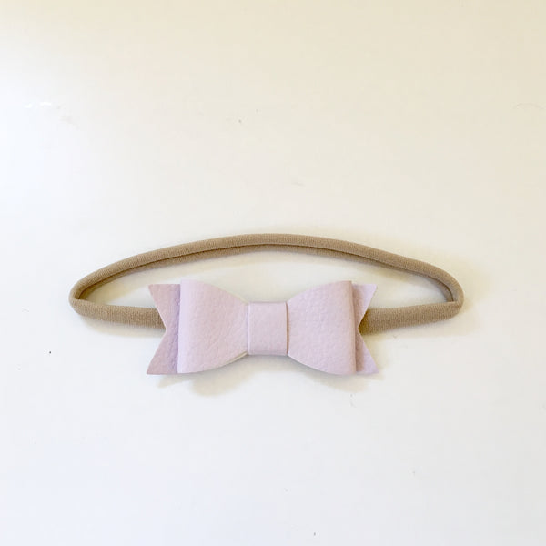 Headband Faux Leather Bow - Lilac