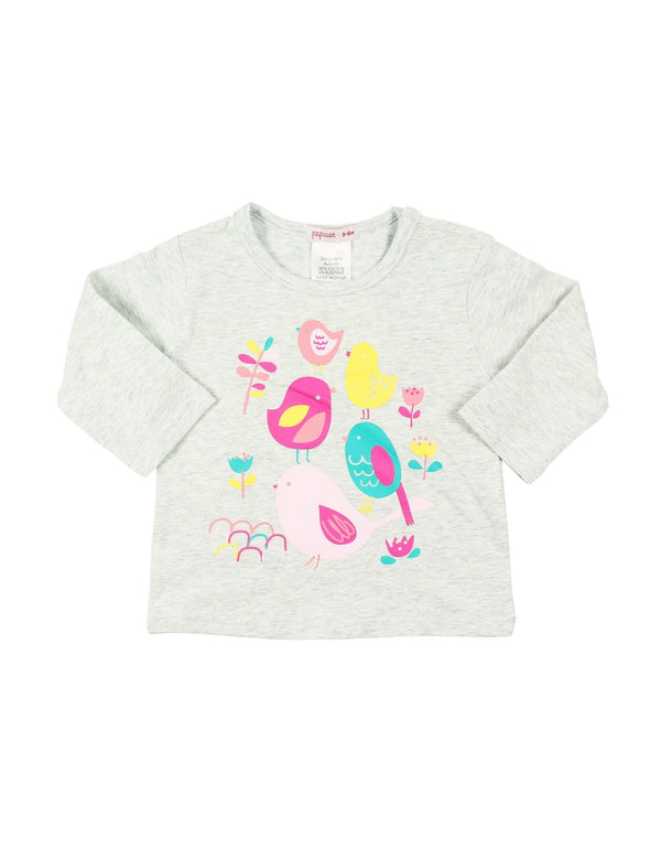 Papoose AW16 Little Girls Birdie Top - Grey