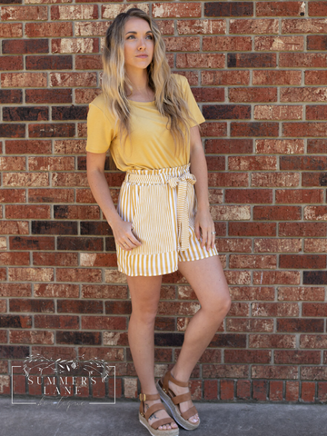Lori's Mustard Striped Shorts
