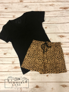 Leopard Pajama Short Sets
