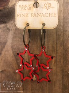 Double Red Star Earrings