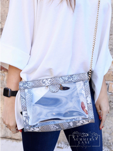 Miller Snap Clear Crossbody Snake Denim